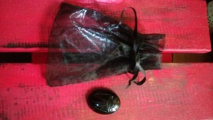 Small black net draw string bag